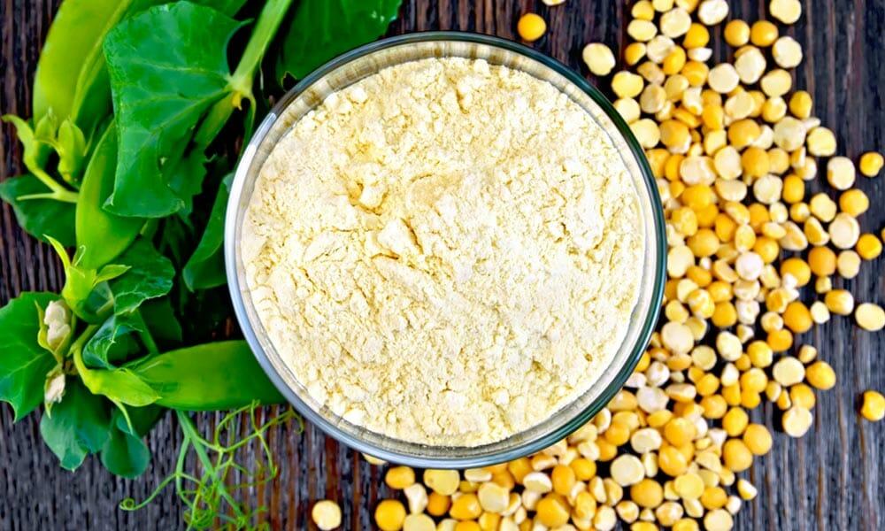 a bowl of yellow pea powder